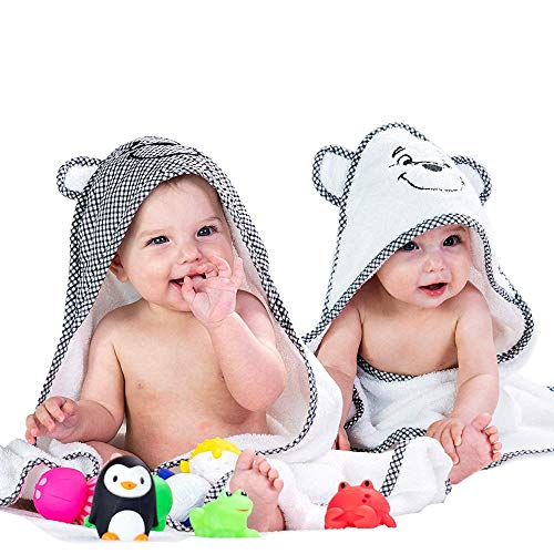 2 Pack Premium Baby Hooded Towels - Ultra Absorbent - Thick 30x30 - Soft Cotton Towel With Hood for Babies,Toddler,Infant - Newborn Essentials must haves - Bath Accessories Gift Set For Boys & Girls