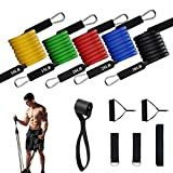 Vikano Exercise Resistance Bands Set, [Upgraded Version] Fitness Resistance Bands Set with 5 Fitness Tubes, Handles, Door Anchor, Ankle Straps, Carrying Pouch, Workout Guides for Men Women
