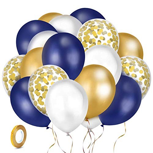 Kolavia 60PCS Navy Blue and Gold Confetti Balloons, Premium 12inch Pearl White and Gold Metallic Chrome Birthday Party Balloons, Balloons Bulk for Bridal Shower, Graduation Party Decoration