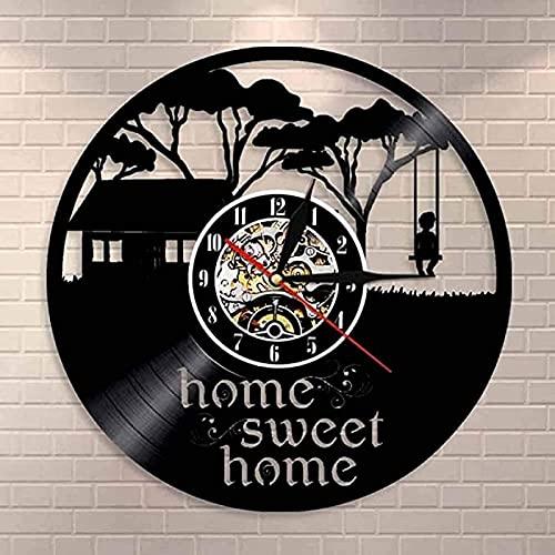 Sweet home house disco de vinilo reloj de pared niños columpio colgante de pared arte reloj de pared infancia feliz inauguración de la casa inauguración de la casa reloj de pared regalo con LED