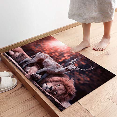 Reindeer and Lion Leaning Together in the Forest Modern Indoor Front Door Mat for Entrance Way Super Absorbent Durable Door Rugs Shoes Scraper for Home Living Room, Washable 31.5 x 20 Inch