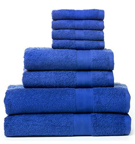 Rare Fig Juegos de Toallas de algodón Altamente Absorbente 2 Toallas de baño, 2 Toallas de Mano y 4 Ropa de Lavado para baño, peluquería, Toallas de SPA y Masaje - 8 Piezas (Azul)