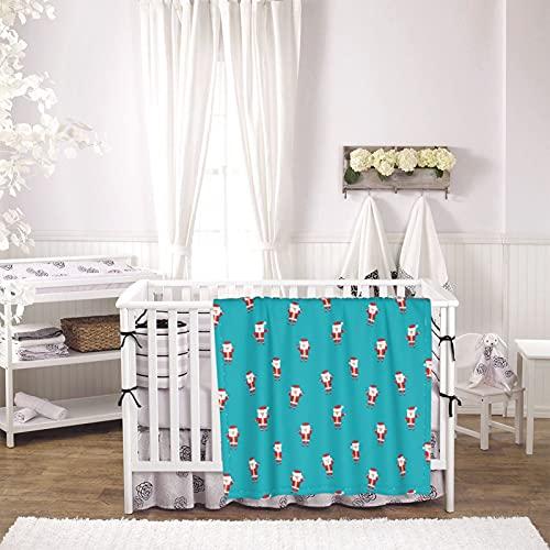 Santa Claus Unisex Plush Blanket Infant Newborn Receiving Blanket for Crib Stroller Travel Decorative One Size Black