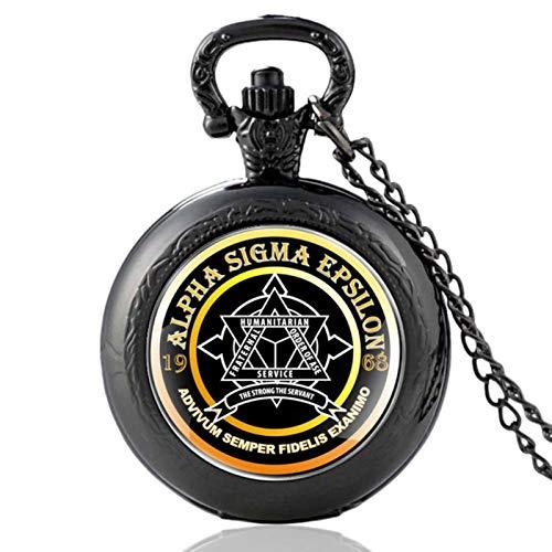 ZDANG Clásico Alpha Sigma Epsilon Silver Vintage Reloj de Bolsillo de Cuarzo Reloj Colgante Reloj Hombres Mujeres Regalos