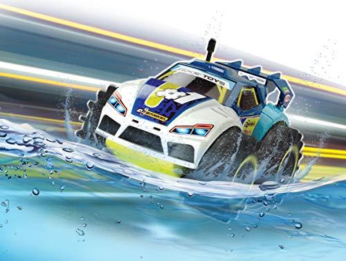 Dickie Toys RC Amphy Rider, ferngesteuertes Amphibien-Fahrzeug, 2-Kanal-Funksteuerung, Allradantrieb, 360-Grad-Drehung, 20 cm, blau/weiß/gelb