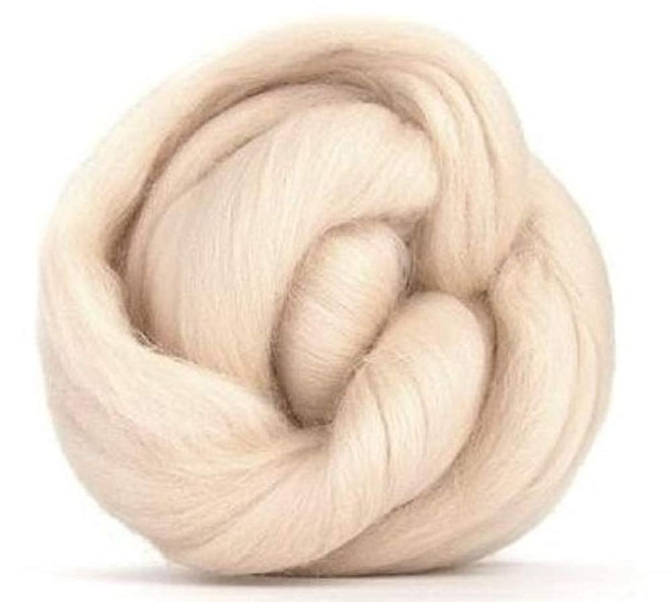 4 oz Paradise Fibers 64 Count Dyed Buff (White) Merino Top Spinning Fiber Luxuriously Soft Wool Top Roving for Spinning with Spindle or Wheel, Felting, Blending and Weaving
