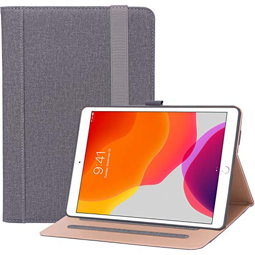"""ProCase New iPad 7th Generation Case 10.2"""" 2019 with Pencil Holder, Premium PU Leather Protective Cover Stand Folio Case with Strap for iPad 10.2 7th Generation 2019 –Grey"""