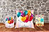 PACKAGE - 1 Coffee Mug (350 ml Capacity), 1 Cushion Cover 12x12 IN, 1 Vacuum Packed Conjugated Fiber Filler, 1 Greeting Card MATERIAL - CUSHION : Poly Canvas, Cotton Overlap Envelop Backing; MUG : White Ceramic, High Quality Digital Printing, Premium...