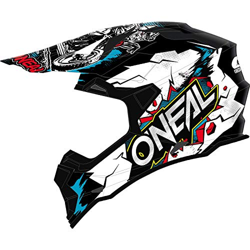O'NEAL   Casco de Motocross   MX Enduro   ABS Shell, Estándar de Seguridad ECE 2205, Ventilación para una óptima ventilación y refrigeración   Casco 2SRS Villian Youth   Niños   Blanco   Talla S