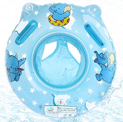 O-Kinee Anillo de Natación Bebe, Lindo Patrón Natación Inflable Flotador de Piscina Juguetes de Desarrollo de Natación en Agua para Bebé 6-36 Meses, Azul