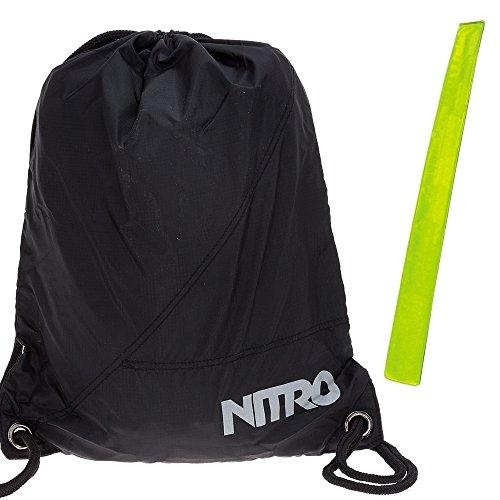 Nitro Sportbeutel Sports Sack 878003 Turnbeutel Schuhbeutel + Reflektorstreifen (Black (Schwarz) 12)