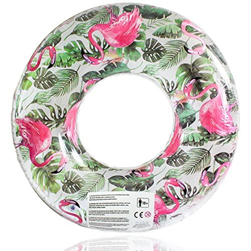 Selldorado® 1x XXL Schwimmring für Erwachsene im Flamingo-Design - aufblasbarer bunter Schwimmreifen - Luftmatratze für Strandurlaub Ø 99 cm