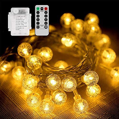 Qomolo Lichterkette Aussen Batterie 50 LEDs IP65 Wasserdicht Warmweiß Kugel Lichterkette 7 Meter 8 Modi mit Fernbedienung für Halloween Garten Terrasse Hof Haus Party