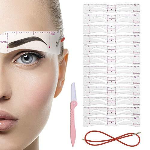 Tixiyu Augenbrauen-Schablone, Augenbrauen-Shaper-Set, 12 Stile, 3 Minuten, Make-up-Werkzeuge für Augenbrauen, extrem aufwändige wiederverwendbare Augenbrauen-Vorlage, Augenbrauen-Gel, Augenbrauen