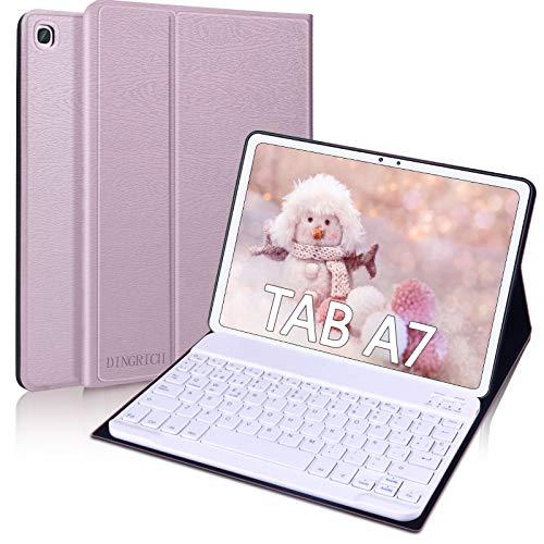 """DINGRICH Funda Teclado para Samsung Galaxy Tab A7 10.4"""" 2020, Español Ñ Teclado Bluetooth Inalámbrico Extraíble Magnético para Samsung Galaxy Tab A7 10.4 T500/T505/T507 2020 Tablet Oro Rosa …"""
