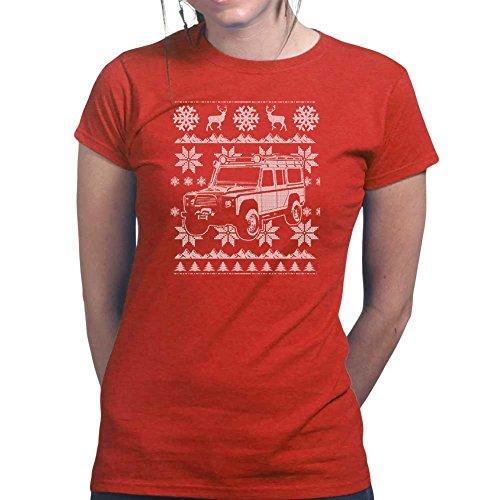 WomensDefender4x4OffRoadUglyChistmasSweaterLadiesT Shirt(Tee,Top) RED X-Large Red