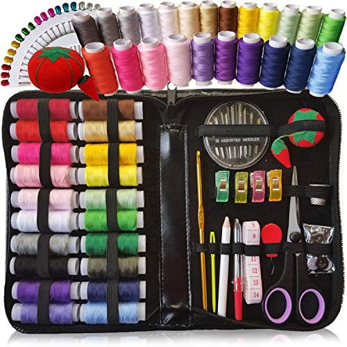 ARTIKA XL Sewing KIT, DIY Quality Sewing Supplies, 20 XL Spools of Thread, Most Useful Colors of Threads & Extra 18 Long Sewing pins - Beginners, Emergency, Kids, Summer Campers and Home