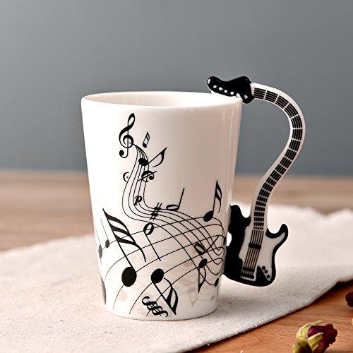 Kompassswc Keramiktasse mit Motiv Henkel Lustig Musik Kaffeetasse Porzellan Tee Kaffee Tasse Musiknoten Bedruckt Teebecher Geschenk 0,3L (SCHWARZ E-Gitarre)