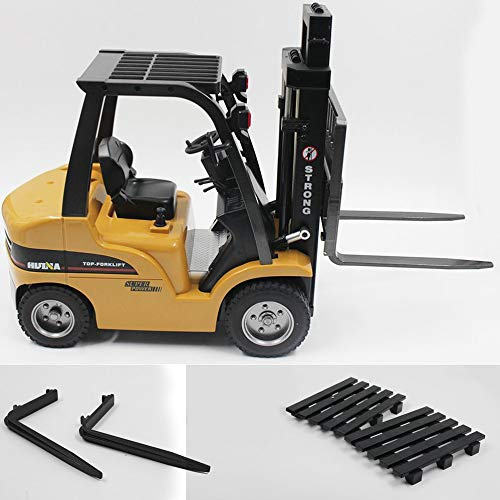 urjipstore Huina Toys 1577 1/10 8Ch Alloy Remote Control Forklift Crane Truck Engineering Vehicle Toy Sound and Light Table Lift RTR