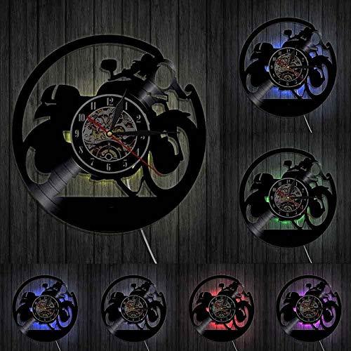 TJIAXU Decoración del hogar Reloj Cafe Racer Reloj de Pared de Vinilo Hecho a Mano Reloj de Pared de Vinilo de Motocicleta clásico Reloj de Moto Motor Racer Riders Gift