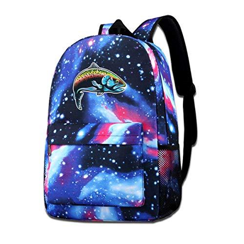 School Bag,Rainbow Trout Fish School Backpack Galaxy Starry Sky Book Bag Kids Boys Girls Daypack