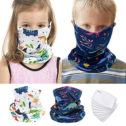 2Pcs Kids Bandanas Face Mask Earloop Neck Gaiters for Boys Girls with 10pcs Activated Carbon Filters Outdoor Balaclava (Dinosaur_Blue Pattern+White Pattern,S)