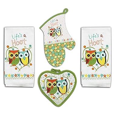 4 Piece Hoot Owl Kitchen Set - 2 Terry Towels, Oven Mitt, Potholder