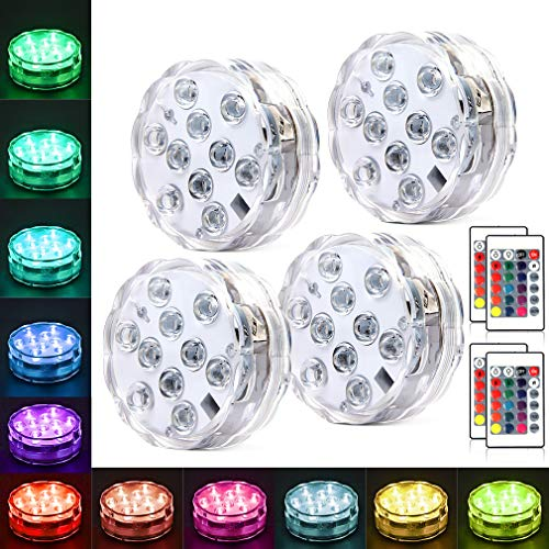 Hoofun Underwter Pool Light for vase Fish Tank,Submersible Lights with Remote Control Battery Operated Aquarium Light,Best Party Decor Lights for ot Tub,Pond,Fountain (4 Pack)