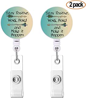 2 Pack Retractable Badge Holder with Alligator Clip Cute Inspirational Quote Stay Positive,Work Hard and Make it Happen, Badge Holder Lanyard, Medical Nurse Badge Holder, Office Badge