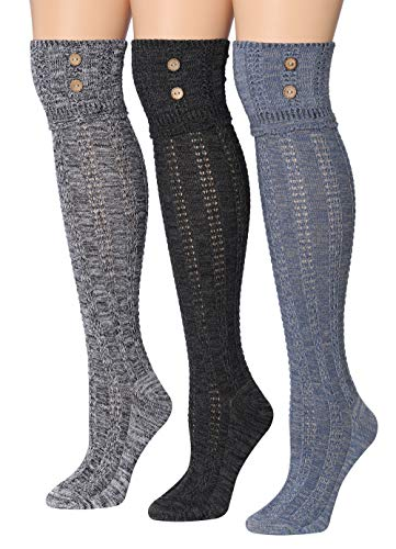 Tipi Toe Women's 3-Pairs Winter Warm Knee High / Over The Knee With Buttons...