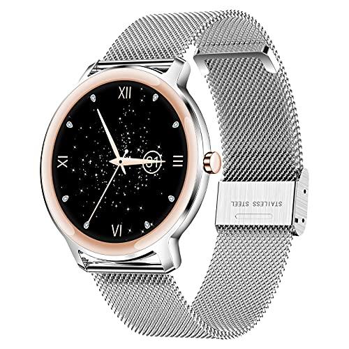 QFSLR Smartwatch, Reloj Inteligente IP67 Pulsera Actividad con Monitor De Frecuencia Cardíaca Monitor De Presión Arterial Monitoreo De Oxígeno En Sangre Podómetro para iOS Android,Plata