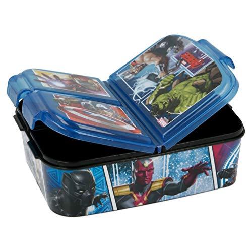 Marvel Avengers Kinder Premium Brotdose Lunchbox Frühstücks-Box Vesper-Dose mit 3 Fächern BPA-FREI