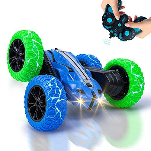 Vubkkty RC Ferngesteuertes Stunt Auto für Kinder, 4WD RC Car Spielzeug mit 2 Akkus, 2,4 GHz Fernbedienung, 360° Flip & Drehung Ferngesteuerte Fahrzeuge für Jungen ab 4 5 6 7 8 9 10 Jahre