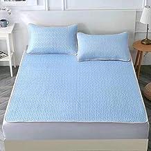 Latex Mat Printing Cooling Summer Sleeping Mat with Pillow Shams Mattress Protector Sheet Summer Foldable Comfortable,Blue...