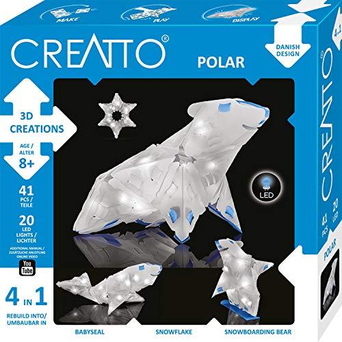 Kosmos CREATTO Polar 3D-Leuchtfiguren entwerfen,3D-Puzzle-Set für Eisbär, Snowboard-Bär, Schneeflocke,Robbe, gestalte kreative Zimmer-Deko, 41 Steckteile, 20-tlg. LED-Lichterkette Kinder & Erwachsene