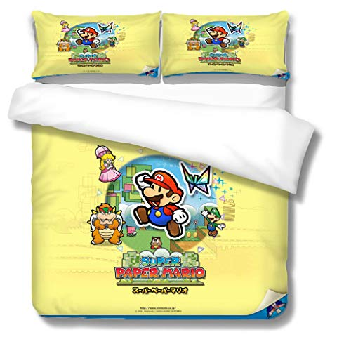 Zbeiba 3D Super Mario Bedding Set,2/3pieces Kids Bedding Set 100% Polyester (Duvet Cover + Pillowcase),#14,single duvet cover,135 * 200cm, Pillowcase 50x70cm