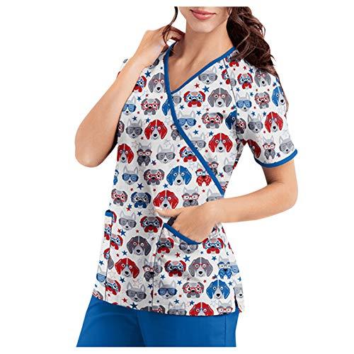 Briskorry Casaca de mujer con diseño nuevo cuello en V casaca con bolsillos, manga corta, estampado multicolor, ropa de trabajo, enfermería, uniformes, azul, M