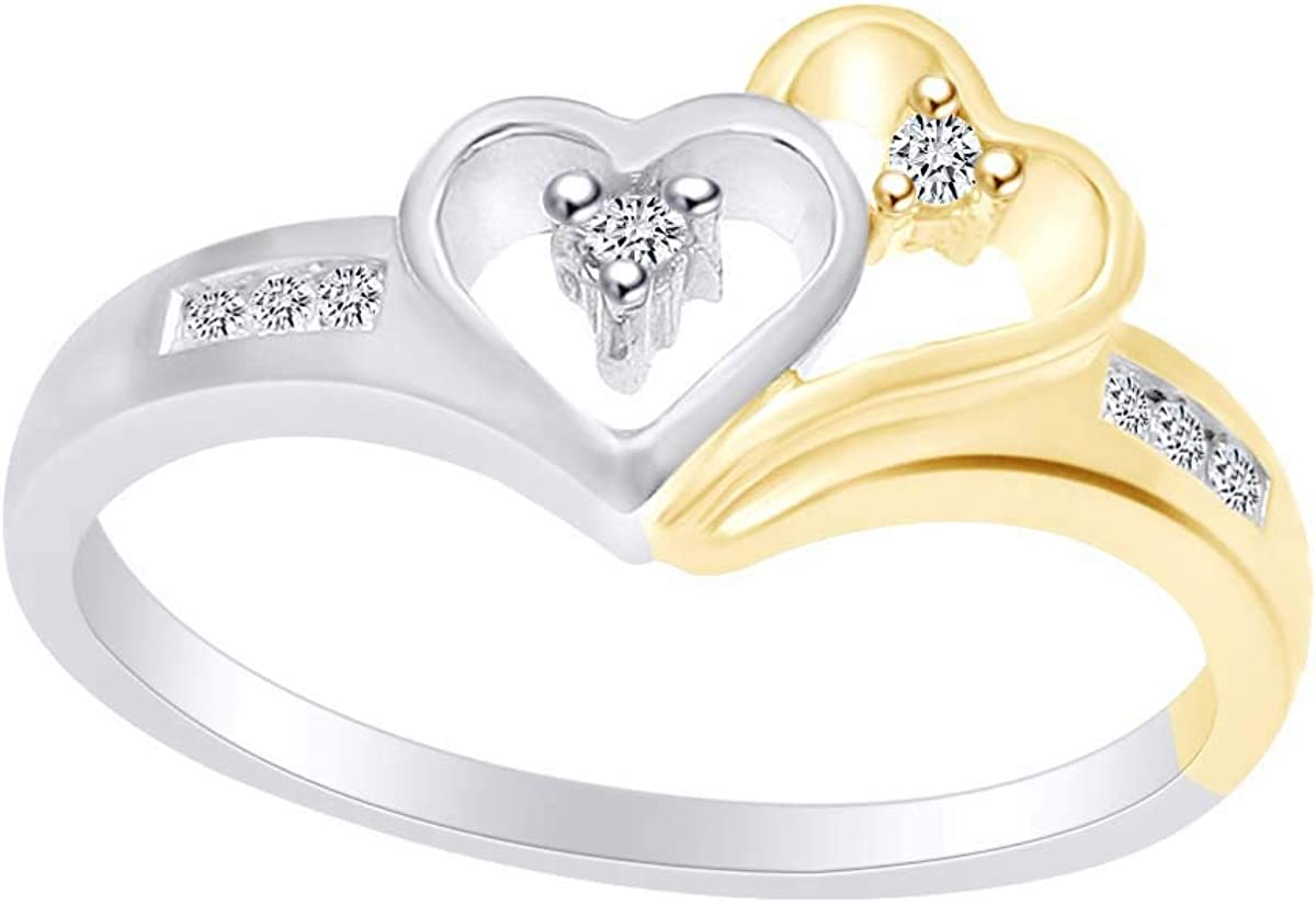 1 10 Carat Round White Natural Deluxe Two Diamond Tone Heart Promise Ri free