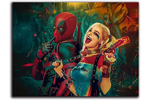 ARYAGO Deadpool-Gemälde-Drucke, modern, 91,4 x 61 cm, Deadpool und Harley Quinn Kunstdruck, Poster, Büro, Heimdekoration, ungerahmt, rahmenlos