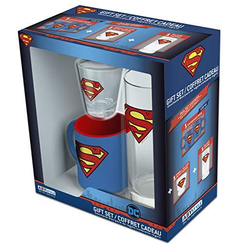Abystyle - dc comics - glass pack 29cl + shooter + mini mug superman