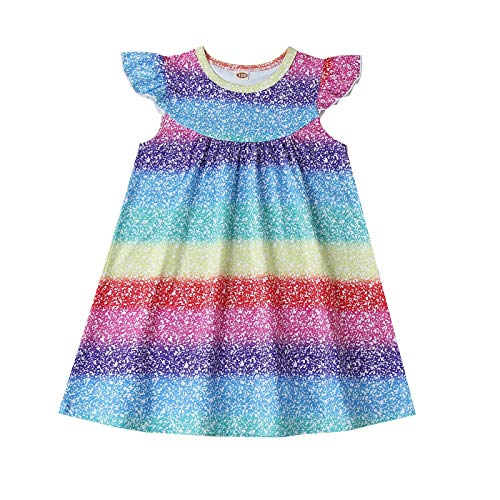 Julhold Toddler Baby Girls Ruffle Rainbow Print Skirt Starry Sky Color White Spots Dress (Multicolor,3-4 Years)