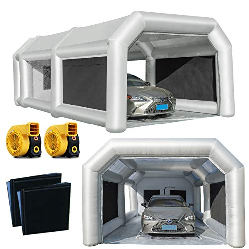 Inflatable Spray Booth Car Paint Room Large Spray Tent 28x15x10FT with 2 Blowers(950+950watt)...