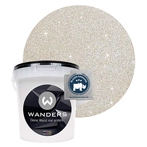 Wanders24® Glimmer-Optik (1 Liter, Silber-Sand) Glitzer Wandfarbe - Wandfarbe Glitzer - abwaschbare Wandfarbe - Glitzerfarbe - Made in Germany
