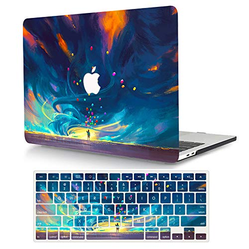 AJYX Funda MacBook Pro 15 Pulgada 2016/2017/2018/2019 Modelo: A1707 / A1990, Plástico Carcasa Dura Case Cubierta + Teclado Cubierta para MacBook Pro 15,4 con Touch Bar - Globos de Colores
