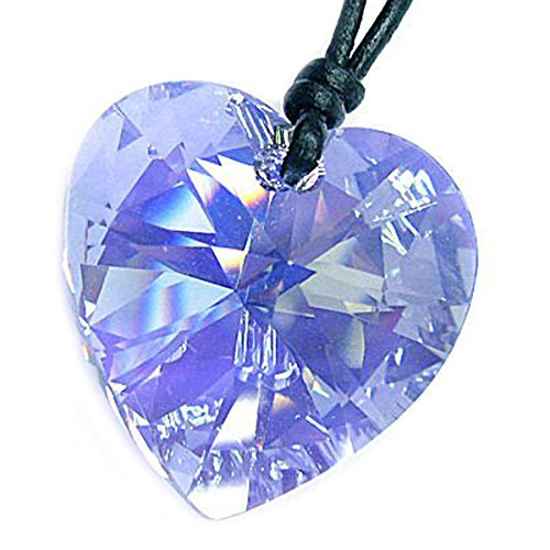 Leather Choker Necklace with Swarovski Elements Crystal Light Blue AB Heart Pendant, 14' - 24'