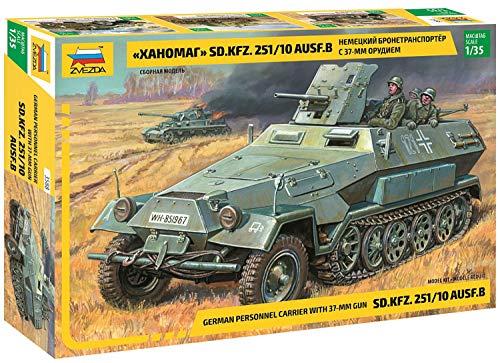 Zvezda ZS3588 Modellino Veicolo da Guerra In Plastica da Montare, Sd.Kfz.251/10 W/3.7Cm Pak, Scala 1:35