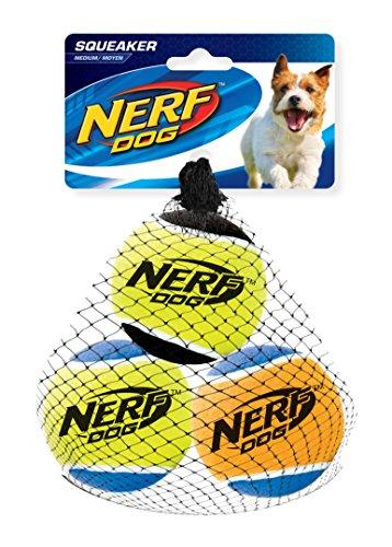 Nerf Dog Hundespielzeug Tennisbälle mit Quietscher, 6,5cm, 3er Pack