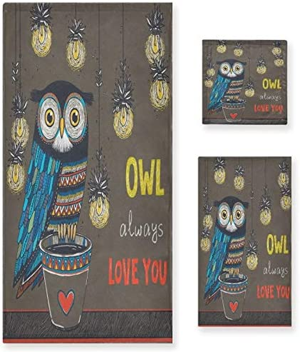 quality assurance Owl Always Love Popular brand in the world You Luxury Towels 3 Valentines of Set Day Happy