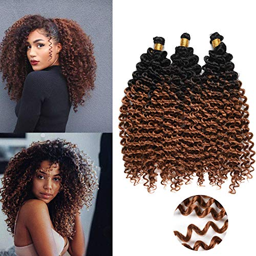 Crochet Braiding Hair For Black Women-14 Inch Marlybob Water Wave Synthetic Bohemian Crochet Curly Hair 3PCS(1B-Brown)