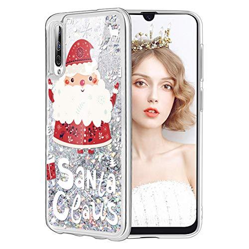 Yoedge Funda para Samsung Galaxy A7 2018, Glitter Liquida Silicona Cárcasa Navidad con Dibujos Bling Brillante...